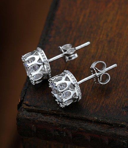 Women 925 Sterling Silver Zircon Stud Earrings
