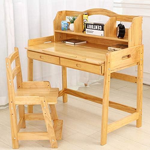 学習机セット Childen引き出し鉛筆スロット子供のための木製アジャスタブル子供の机と椅子セットベッドルーム学生デスク (色 : ベージュ, サイズ : 100X55X75CM)