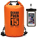 Cheap Waterproof Dry Bag – Roll Top Dry Compression Sack Keeps Gear Dry for Kayaking, Beach, Rafting, Boating, Hiking, Camping, Swimming, Floating and Fishing with Waterproof Phone Case (Orange, 15L)