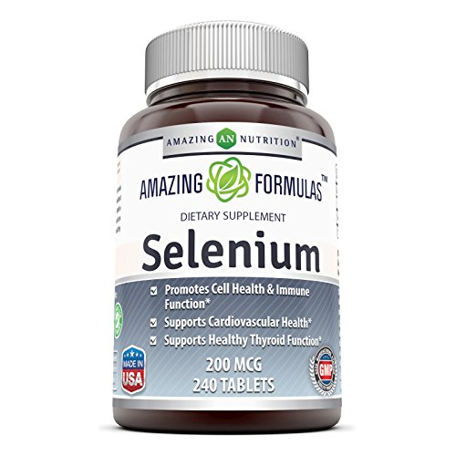 Selenium Yeast (Amazing Nutrition Selenium * 200mcg Natural Selenium Yeast * 240 Tablets Per Bottle  * Promotes Cell Health, Immune Function, Cardiovascular Health and Healthy Thyroid Function and more.)
