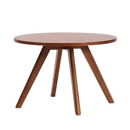 Amazon.com: LXJJDGF - Mesa redonda pequeña, de madera maciza ...