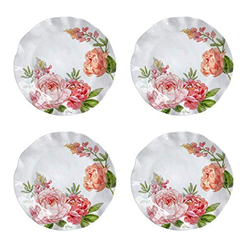 - Rustico Pink Peony Floral Scalloped Heavyweight Melamine Dinnerware (11