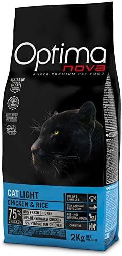 optima nova Cat Light Pollo Gato 2 kg x 2 bolsas comida Alimento ...