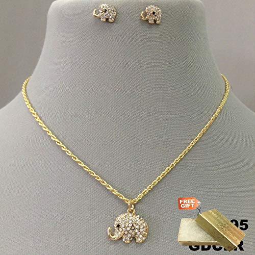 (Gold Finish Clear Rhinestone Elephant Charm Pendant Dainty Necklace & Earrings Set For Women + Gold Cotton Filled Gift Box for)