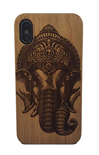 iPhone X Case, Genuine Cherry Wood Hard Shell Case with Laser Engraved Lucky Elephant for iPhone X (GMPC-IPX-03)