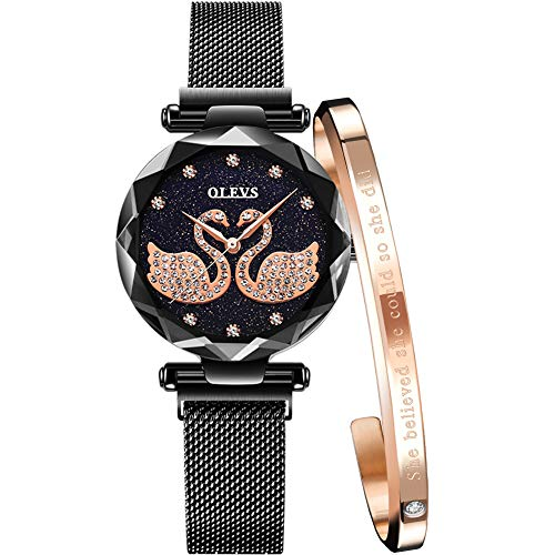 Watches for Women Waterproof Fashion Creative Magnetic Wristband Black Stainless Steel Strap Rhinestone Watches Womens Ladies Watch with Bracelet Jewelry Set (Black Mesh Belt & Black Gold Bracelet)