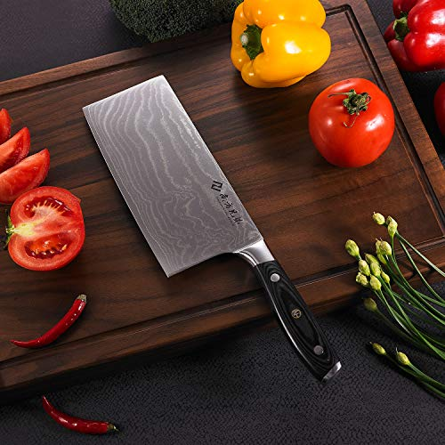 """Damascus Cleaver Knife, 7.2"""" Stainless Steel Chinese Chef Knives Vegetable Knife with Wooden Handle, Multipurpose Use for Kitchen or Restaurant by Nanfang Brothers (Image #5)"""