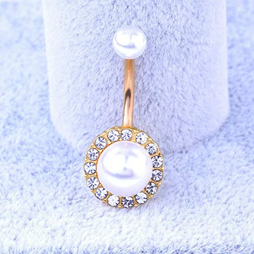 - Rhame Rhinestone Pearl Body Piercing Jewelry Ball Barbell Bar Belly Button Navel Ring | Model RNG - 8174 |