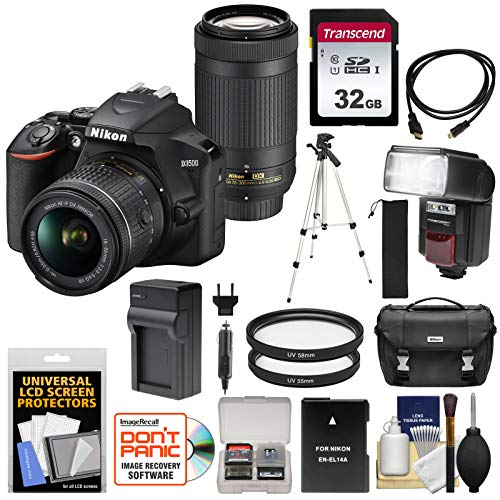 Nikon D3500 Digital SLR Camera & 18-55mm VR & 70-300mm DX AF-P Lenses with 32GB Card + Battery + Charger + Flash + Tripod + Kit