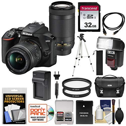 Nikon D3500 Digital SLR Camera & 18-55mm VR & 70-300mm DX AF-P Lenses with 32GB Card + Battery + Charger + Flash + Tripod + Kit