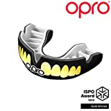 OPRO Power-Fit Mouthguard | Adult Handmade Gum Shield for Football, Rugby, Hockey, Wrestling, and Other Combat and Contact Sports - 18 Month Dental Warranty (Ages 10+) (Black/Gold Teeth)