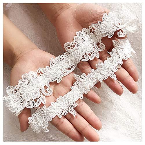 shinyis Handmade Strecth Lace Bridal Wedding Garter Set with Toss Garter and Keepsake Garter for Bride Dress ()