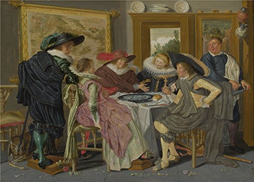 Oil Painting 'Dirck Hals A Party At Table ' Printing On High Quality Polyster Canvas , 16 X 22 Inch / 41 X 57 Cm ,the Best Foyer Decoration And Home Decor And Gifts Is This High Quality Art Decorative Prints On Canvas (Hampton Beach Stand Mixer compare prices)