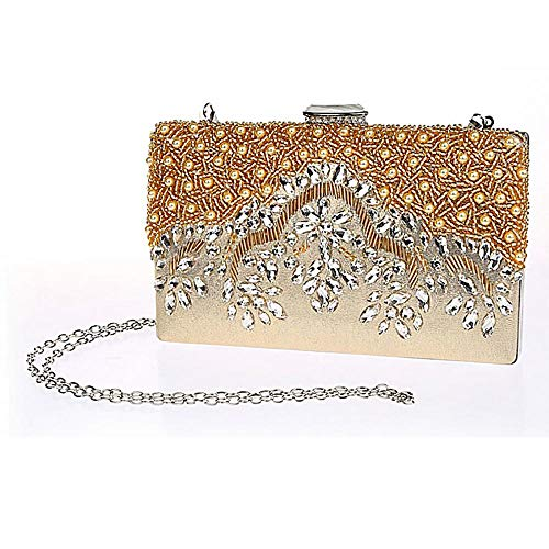 Party Crystal Yellow Clutch Women's Evening Handmade Bag Glassbeads Handbag Embroidery Rhinestones Purse HPqt0Pw