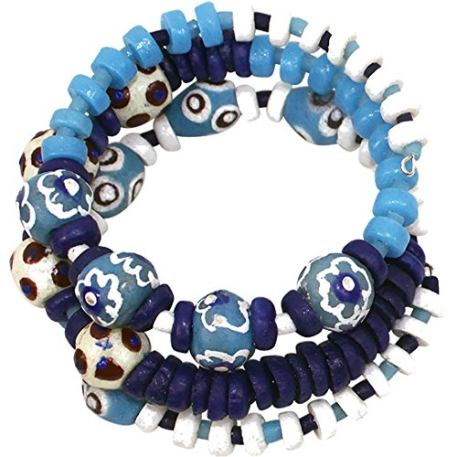 Fair Trade Earth  Ocean Handmade Glass Bead Spiral Bracelet (Blue)
