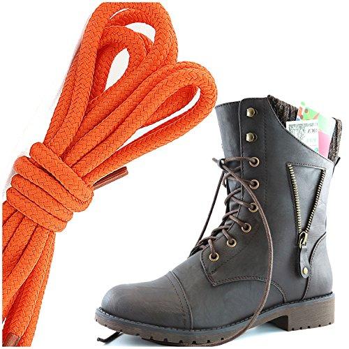 Dailyshoes Womens Militaire Lace Up Gesp Combat Laarzen Rits Sweater Enkel Hoge Exclusieve Creditcard Zak, Oranje Bruin Pu