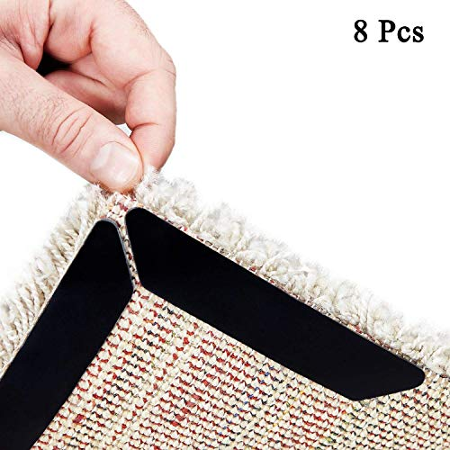 Rug Gripper - 8 piezas Pinza de alfombra negra antiarrugas. Anti Slip Straight Carpet Gripper para esquinas y bordes -...