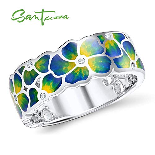 - Rings for Woman | Colorful Transparency Enamel Flower Rings | Yellow Cubic Rings | Party's Fashionable Handmade Jewelry