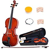 ADM 16 Inch Handcrafted Solid Wood Student Acoustic Viola Starter Kits, Beginner Bundle with Viola Case, Bow, Rosin
