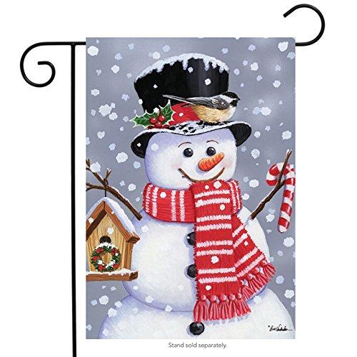 "Briarwood Lane Snowman Birdhouse Christmas Garden Flag Primitive Chickadee 12.5"" x 18"""