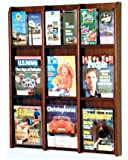 Wooden Mallet 9-Magazine/18-Brochure Divulge Wall Display with Brochure Inserts, Mahogany