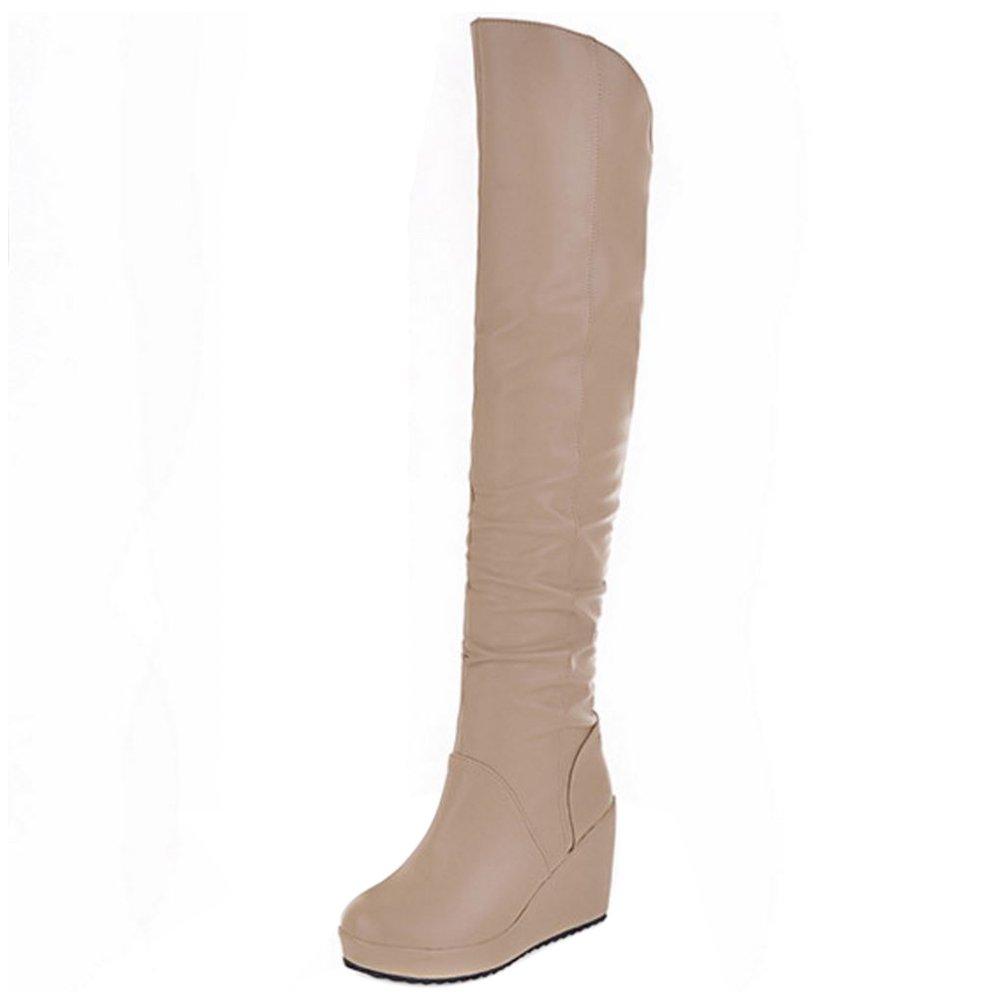 TAOFFEN Damen Langschaft Stiefel Mit Zipper Beige