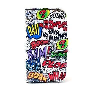 WQQ Haha patrón de dibujos animados Boom PU Leather Case Soft con ranura para tarjetas y soporte para Samsung Galaxy S3 I8190 mini-