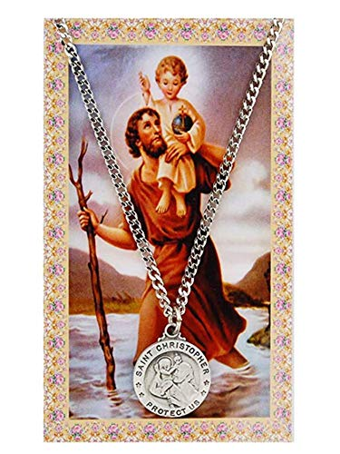Pewter Medallion Pendant - Pewter Pendant with Prayer Card St. Christopher Round