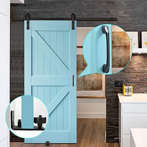Hysagtek - Guías para puertas de granero con 8 opciones de configuración para puertas correderas, fácil instalación y 1 manija de puerta: Amazon.es: Bricolaje y herramientas