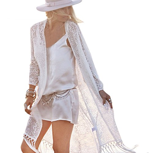 ROPALIA Womens Boho Lace Kimono Cardigan Bikini Cover Up Blouse Tassels Top (Asian XL, White)