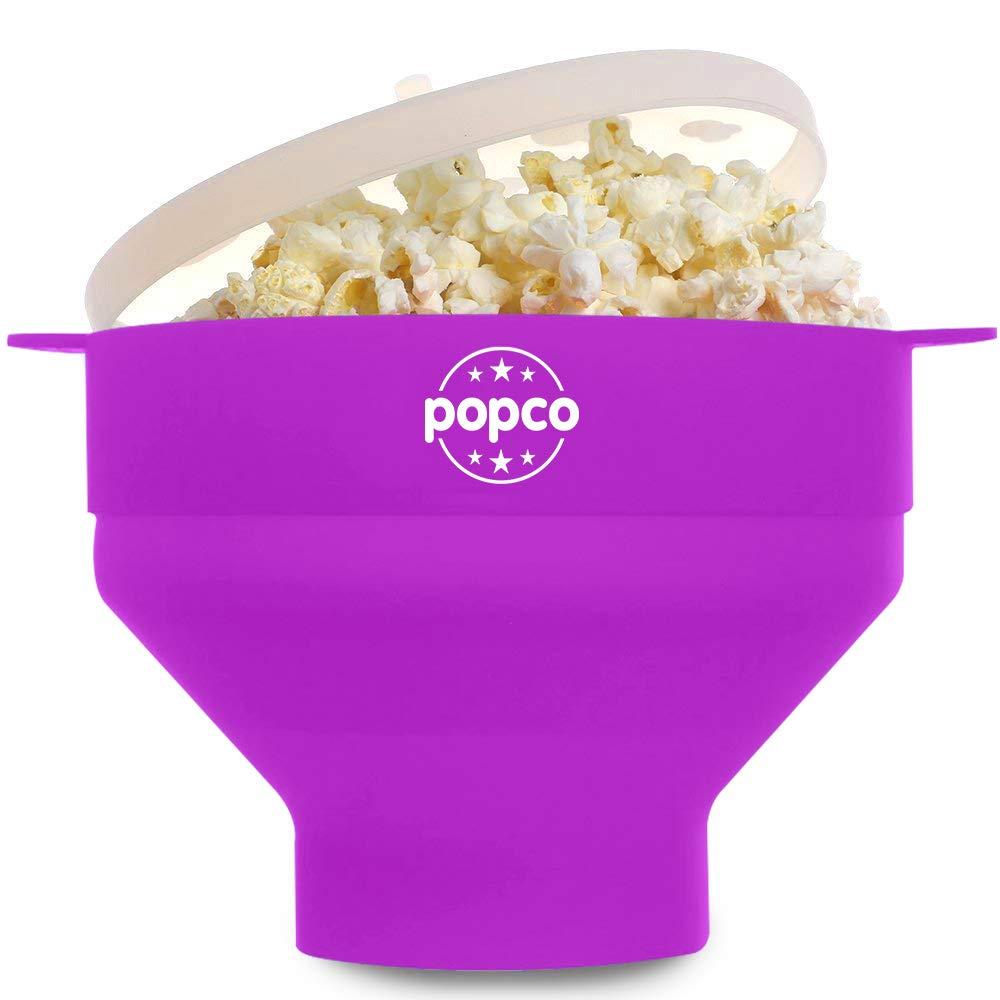 The Original POPCO Microwave Popcorn Popper, Silicone Popcorn Maker, Collapsible Bowl BPA Free & Dishwasher Safe (Purple)