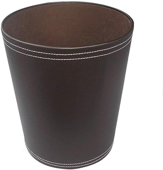 caf/é 20 x 20 x 28cm FOKOM Papelera Vintage Retro Cl/ásico Cuero PU Papelera Oficina Cubo de Basura Cubo de Basura Papelera Trash Bin sin Tapa