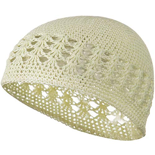 Knit Kufi Hat - Koopy Cap - Crochet Beanie (Cream, One Size