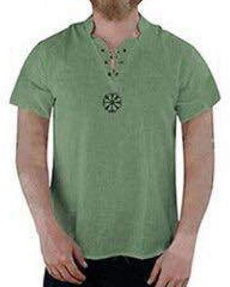 Camisa de túnica Medieval de Lino para Hombre Camisa con Cuello en v de Manga Corta Camisa con Cordones de Pirata Camisa de Abuelo: Amazon.es: Ropa y accesorios