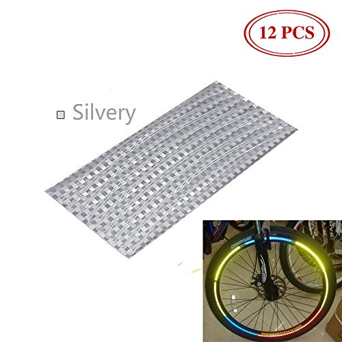 YESON Fluorescent Bicycle Sticker Wheel Rim Reflective Stickers Decals,Bike Wheel reflectors,Bike Wheel Lights,for 26inch Mountain Bike Road Bike,,for Cycling Safety Warning Or DIY Decoration 12pcs -
