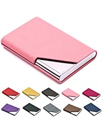 business name card holder luxury pu leather stainless steel multi card casebusiness name - Pink Card Holder