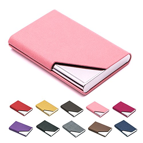 Business Name Card Holder Luxury PU Leather & Stainless Steel Multi Card Case,Business Name Card Holder Wallet Credit Card ID Case/Holder for Men & Women - Keep Your Business Cards - Card Pink Business