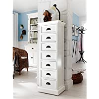 NovaSolo Halifax Pure White Mahogany Wood 7-Drawer Chest