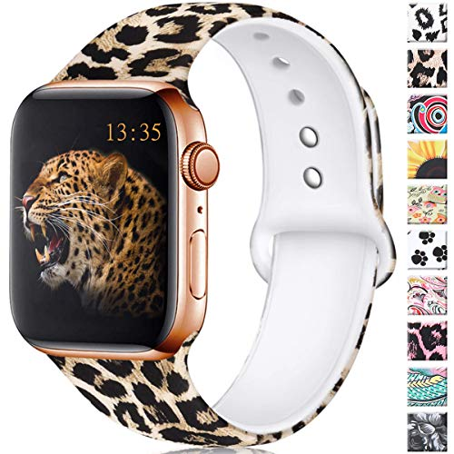 4 Leopard - Haveda Floral Bands Compatible with Apple Watch Band 38mm 40mm, Soft Pattern Printed Silicone Sport Replacement Wristbands for Women Men Kids with iWatch Series 4 Series 3/2/1, M/L, Leopard