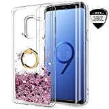 Samsung Galaxy S9 Case with 3D PET Screen Protector [2 Pack] for Girls Women, LeYi Cute Glitter Shiny Quicksand Clear Phone Case with Car Ring Holder Kickstand for Samsung S9 ZX Rose Gold