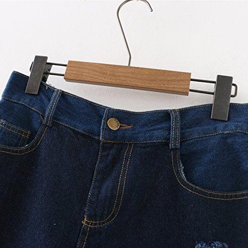 alta alta in Blu strappati vita vita a Pantaloncini da FuweiEncore a vintage medio jeans donna 8qOxB4t