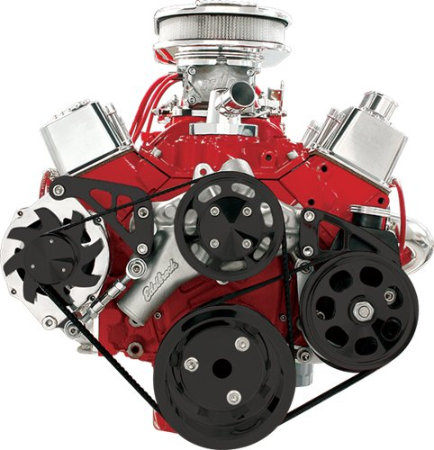 Serpentine Pulley Conversion Kits - BILLET SPECIALTIES SMALL BLOCK CHEVY BLACK FRONT ENGINE SERPENTINE CONVERSION KIT WITH KEYWAY POWER STEERING PUMP PULLEY & BRACKET, MIDDLE ALTERNATOR BRACKET, SBC WATER PUMP, CRANK, & ALT. PULLEYS