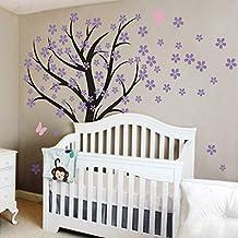 MairGwall Cherry Blossom Wall Mural Flower Decor Tree Decal Flora Vinyl Baby Nursery Vinyl (Large,Trunk- Black,Flower- Hydrangea Purple,Butterfly- Soft Pink)