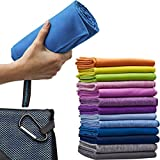Micro-Miracle Microfiber Bath Towel with Hand Towel and Carry Bag, XL (30x60-Inch), Blue