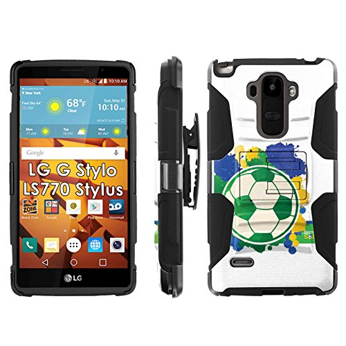 LG G Stylo LS770 H631 Phone Cover, World Cup Soccer Brazil- Blitz Hybrid Armor Phone Case for [LG G Stylo LS770 H631] with [Kickstand and Holster] by Mobiflare