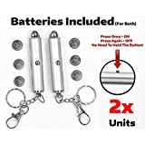 2x Cat Light Pointers BATTERIES INCLUDED for both + INDIVIDUALLY TESTED for proper function - STAYS ON (w/ONE click) - interactive bright exercise scratching training tool fun cat dog chaser toy