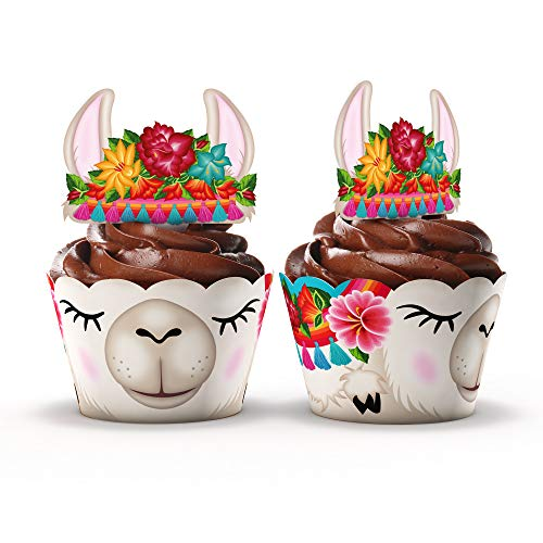 Llama Party Supplies Cupcake Toppers and Wrappers - Set of 24 - Fiesta party supplies -