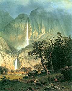 La salida del Museo–Cho-Looke, Yosemite Watterfall por Bierstadt–lienzo (24x 18cm)