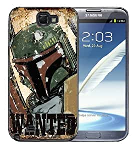 Samsung Galaxy Note 2 Black Rubber Silicone Case - Boba Fett Star Wars Clone Wars Wanted Poster