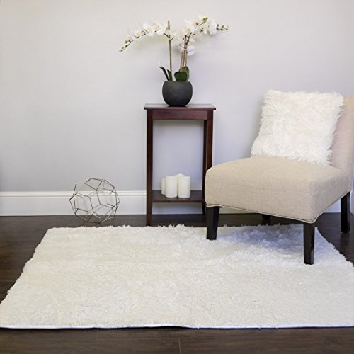 Sweet Home Collection 4' x 5' Super Plush Ultra Soft Faux Fur Area Rug, White